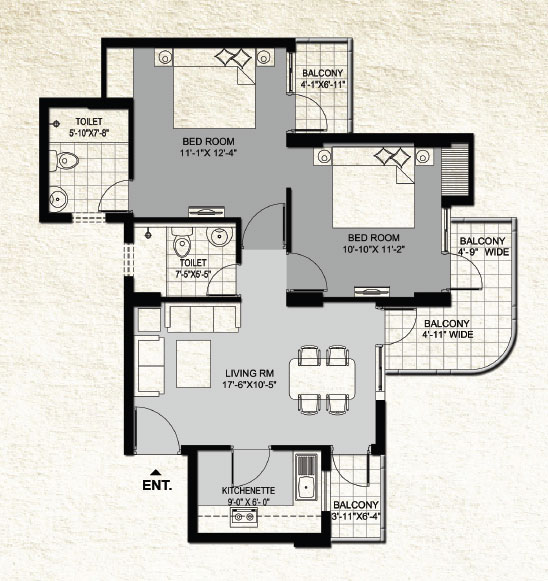 1110 sqft floor plan